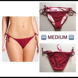 Xhilaration red string bikini bottoms textured NEW